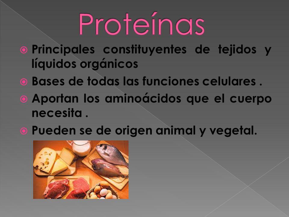 Principales constituyentes de tejidos y líquidos orgánicos Bases de todas las funciones celulares. Aportan los aminoácidos que el cuerpo necesita. Pue