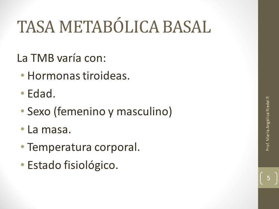TASA METABÓLICA BASAL La TMB varía con: Hormonas tiroideas. Edad. Sexo (femenino y masculino) La masa. Temperatura corporal. Estado fisiológico. Prof.