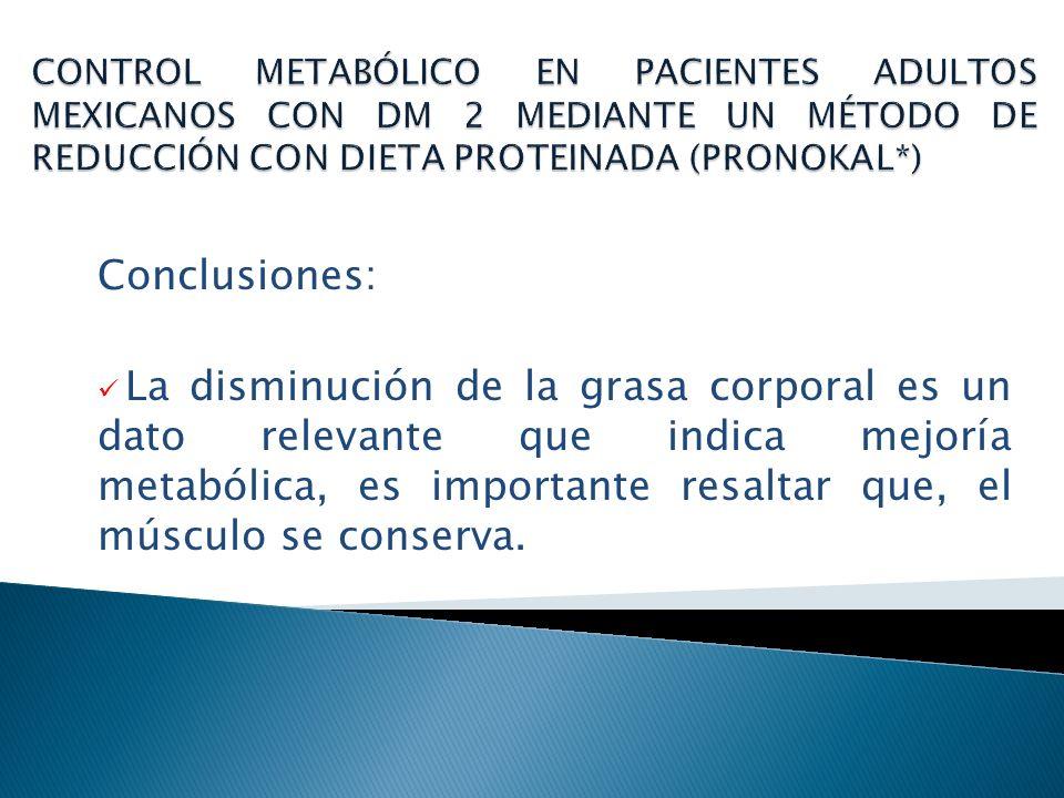 Conclusiones: El mantenimiento de los indicadores de control es la suma de una restricción calórica y la implementación del método PnK* cuyo punto clave es, la reeducación alimentaria.