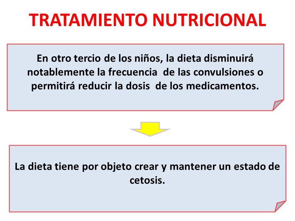 TRATAMIENTO NUTRICIONAL En otro tercio de los niños, la dieta disminuirá notablemente la frecuencia de las convulsiones o permitirá reducir la dosis d