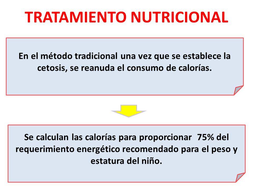 TRATAMIENTO NUTRICIONAL En el método tradicional una vez que se establece la cetosis, se reanuda el consumo de calorías. Se calculan las calorías para