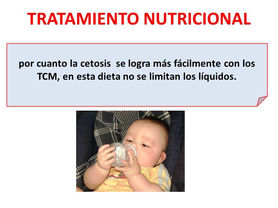 TRATAMIENTO NUTRICIONAL por cuanto la cetosis se logra más fácilmente con los TCM, en esta dieta no se limitan los líquidos.