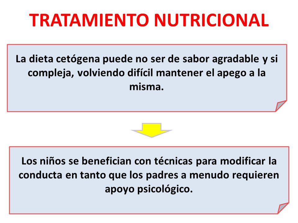 TRATAMIENTO NUTRICIONAL La dieta cetógena puede no ser de sabor agradable y si compleja, volviendo difícil mantener el apego a la misma. Los niños se