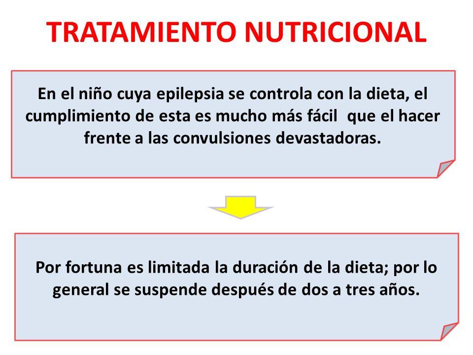 TRATAMIENTO NUTRICIONAL En el niño cuya epilepsia se controla con la dieta, el cumplimiento de esta es mucho más fácil que el hacer frente a las convu