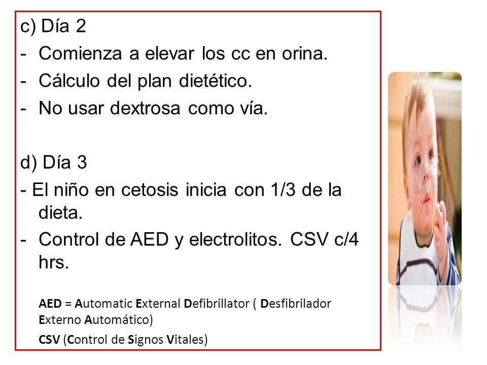 c) Día 2 -Comienza a elevar los cc en orina. -Cálculo del plan dietético. -No usar dextrosa como vía. d) Día 3 - El niño en cetosis inicia con 1/3 de
