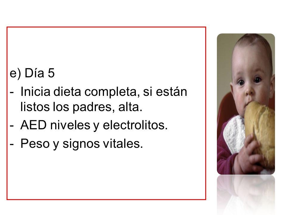 e) Día 5 -Inicia dieta completa, si están listos los padres, alta. -AED niveles y electrolitos. -Peso y signos vitales.