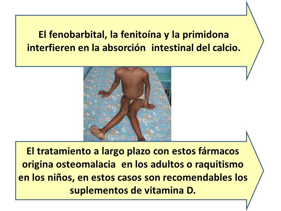 El fenobarbital, la fenitoína y la primidona interfieren en la absorción intestinal del calcio. El tratamiento a largo plazo con estos fármacos origin