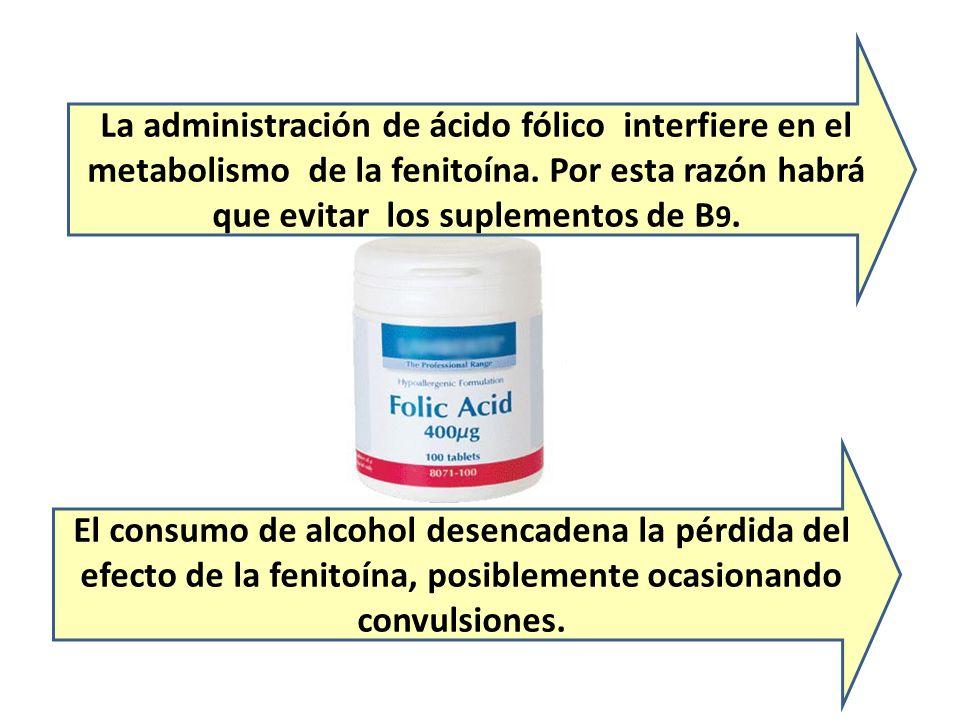 La administración de ácido fólico interfiere en el metabolismo de la fenitoína. Por esta razón habrá que evitar los suplementos de B 9. El consumo de