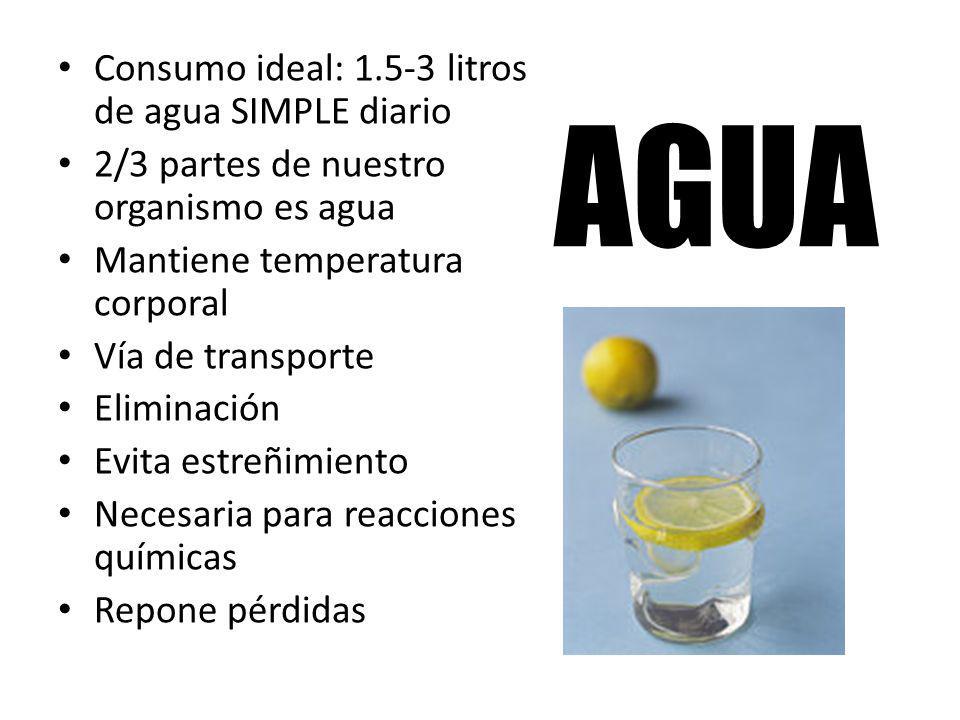 AGUA Consumo ideal: 1.5-3 litros de agua SIMPLE diario 2/3 partes de nuestro organismo es agua Mantiene temperatura corporal Vía de transporte Elimina