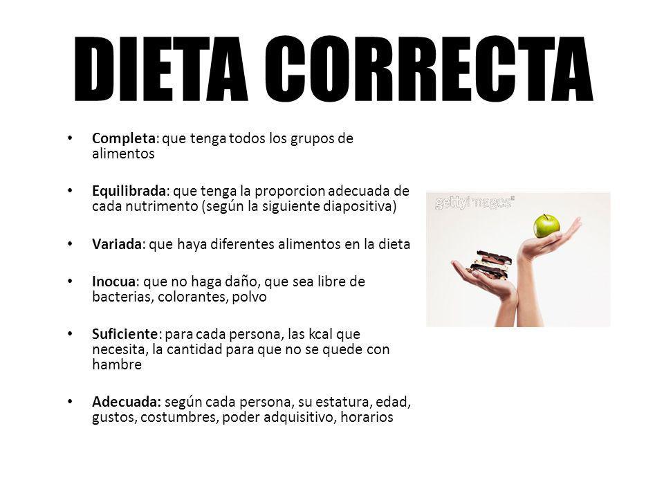 DIETA CORRECTA Completa: que tenga todos los grupos de alimentos Equilibrada: que tenga la proporcion adecuada de cada nutrimento (según la siguiente
