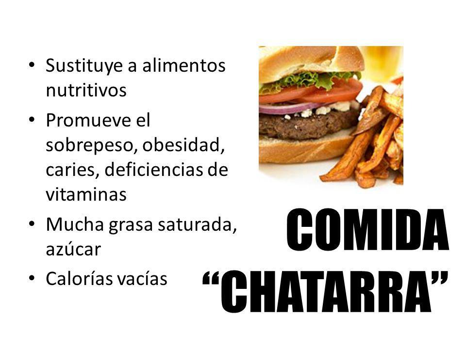 COMIDA CHATARRA Sustituye a alimentos nutritivos Promueve el sobrepeso, obesidad, caries, deficiencias de vitaminas Mucha grasa saturada, azúcar Calor