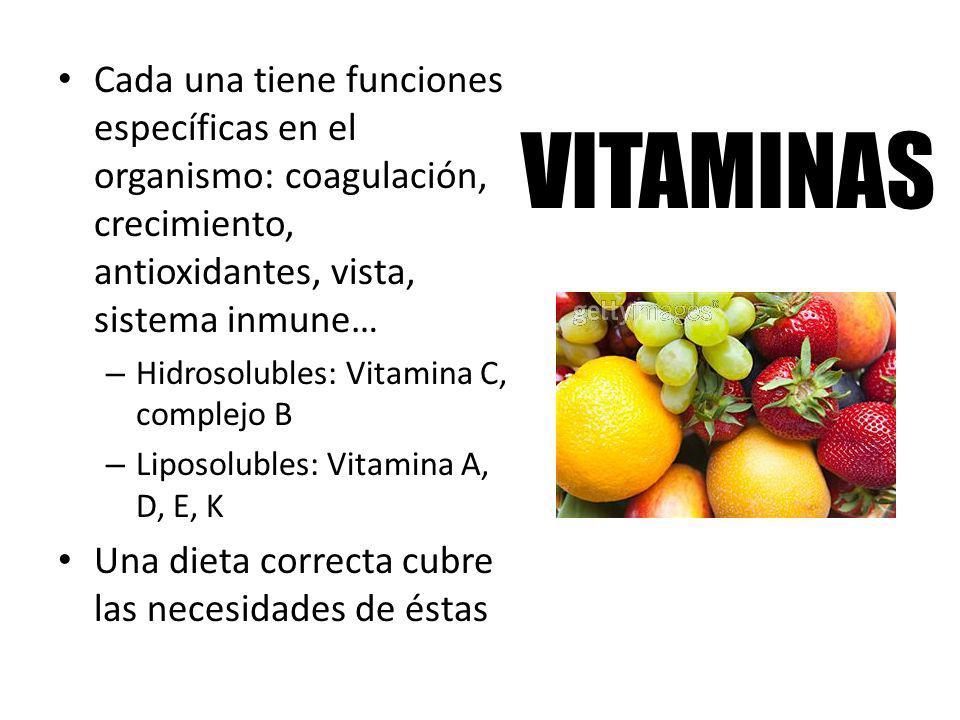 VITAMINAS Cada una tiene funciones específicas en el organismo: coagulación, crecimiento, antioxidantes, vista, sistema inmune… – Hidrosolubles: Vitam