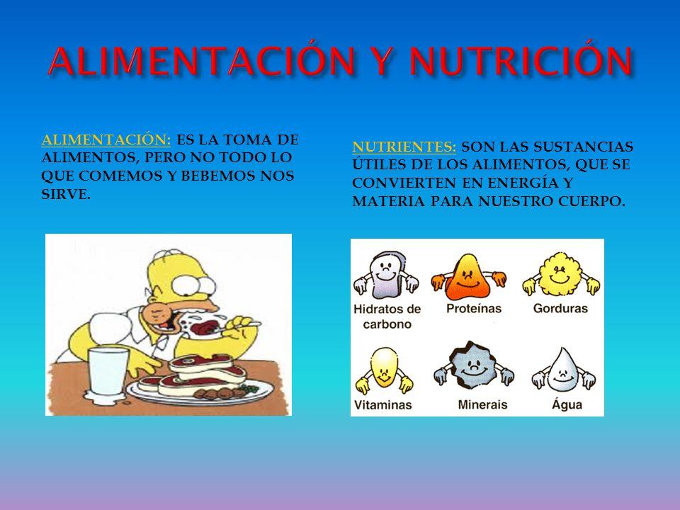 NUTRICIÓN: CONSISTE EN EXTRAER LOS NUTRIENTES DE LOS ALIMENTOS QUE TOMAMOS.