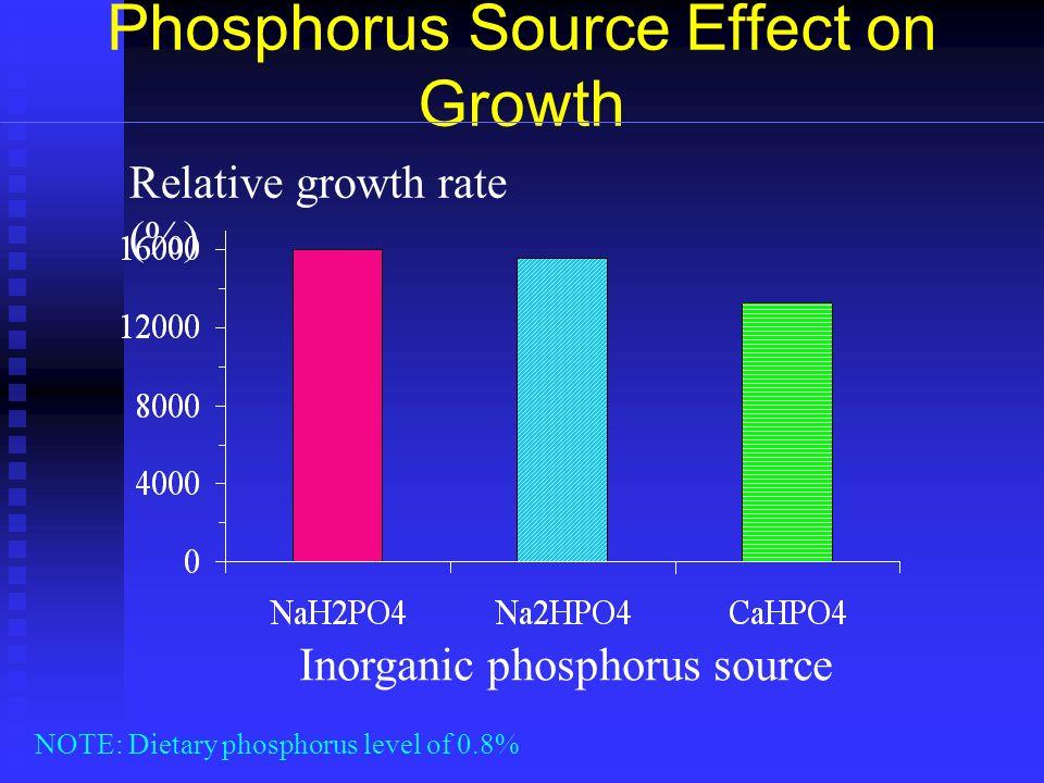 Phosphorus Source Effect on Growth Inorganic phosphorus source Relative growth rate (%) NOTE: Dietary phosphorus level of 0.8%