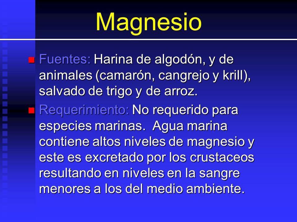 Magnesio Fuentes: Harina de algodón, y de animales (camarón, cangrejo y krill), salvado de trigo y de arroz. Fuentes: Harina de algodón, y de animales