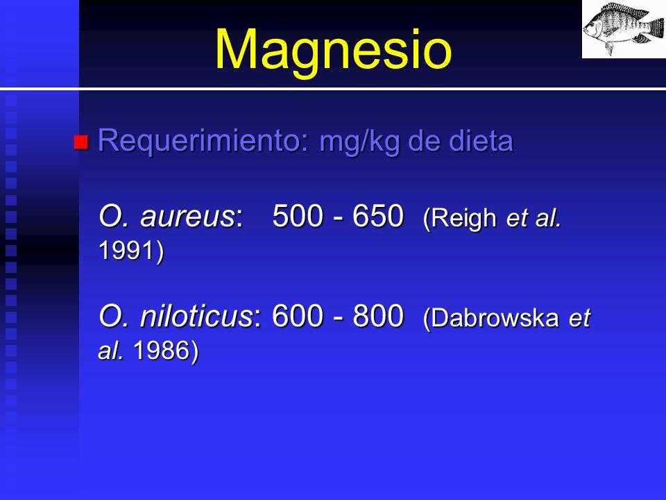 Magnesio Requerimiento: mg/kg de dieta O. aureus:500 - 650 (Reigh et al. 1991) O. niloticus:600 - 800 (Dabrowska et al. 1986) Requerimiento: mg/kg de