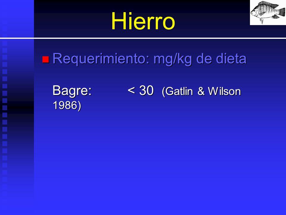 Hierro Requerimiento: mg/kg de dieta Bagre:< 30 (Gatlin & Wilson 1986) Requerimiento: mg/kg de dieta Bagre:< 30 (Gatlin & Wilson 1986)