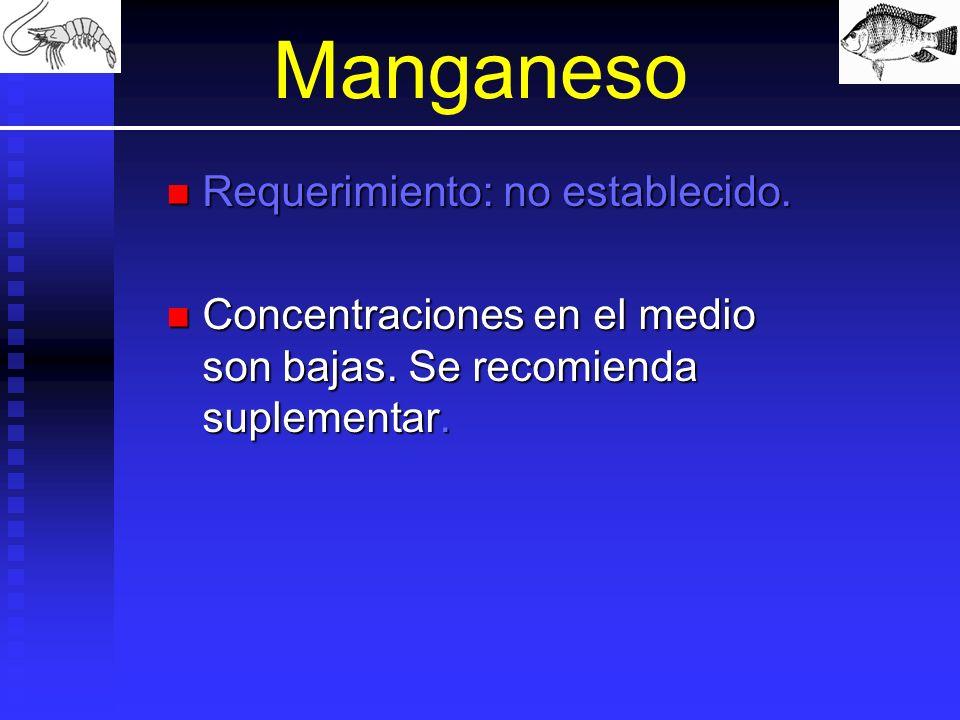Manganeso Requerimiento: no establecido. Requerimiento: no establecido. Concentraciones en el medio son bajas. Se recomienda suplementar. Concentracio