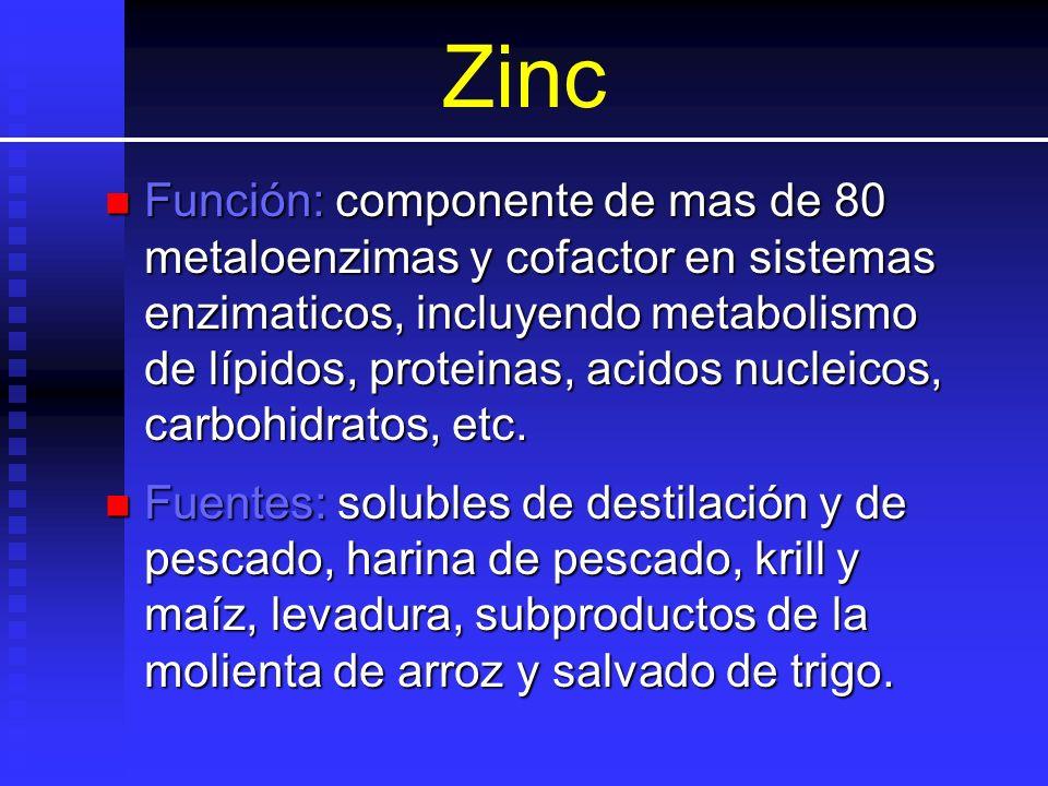 Zinc Función: componente de mas de 80 metaloenzimas y cofactor en sistemas enzimaticos, incluyendo metabolismo de lípidos, proteinas, acidos nucleicos