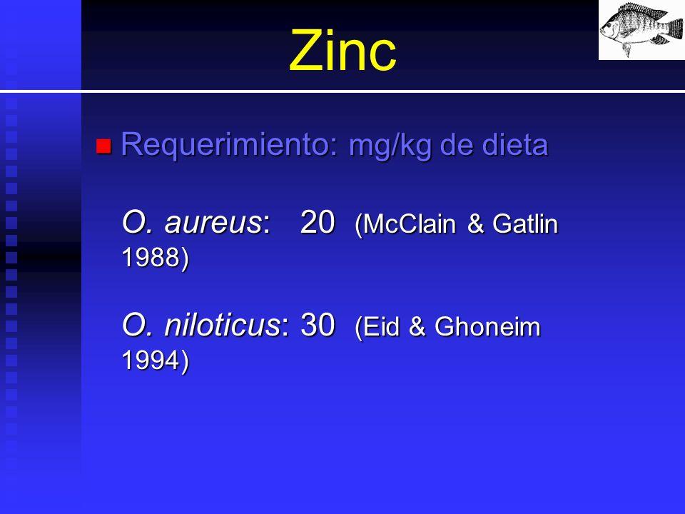 Zinc Requerimiento: mg/kg de dieta O. aureus:20 (McClain & Gatlin 1988) O. niloticus:30 (Eid & Ghoneim 1994) Requerimiento: mg/kg de dieta O. aureus:2