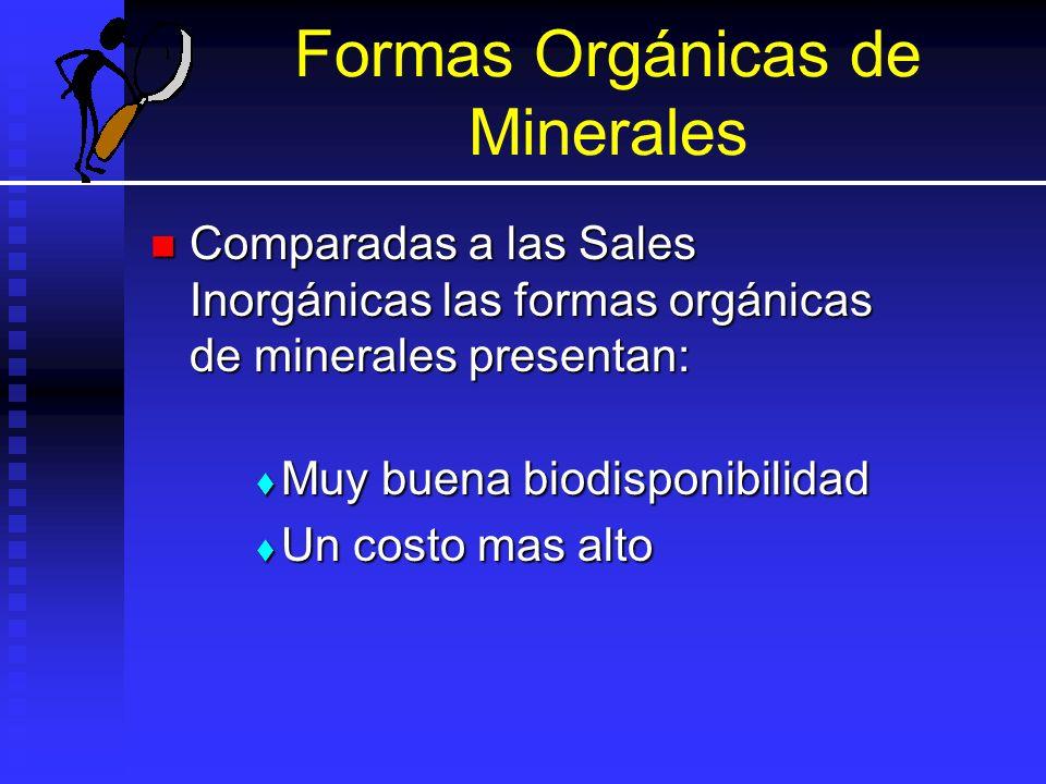 Formas Orgánicas de Minerales Comparadas a las Sales Inorgánicas las formas orgánicas de minerales presentan: Comparadas a las Sales Inorgánicas las f