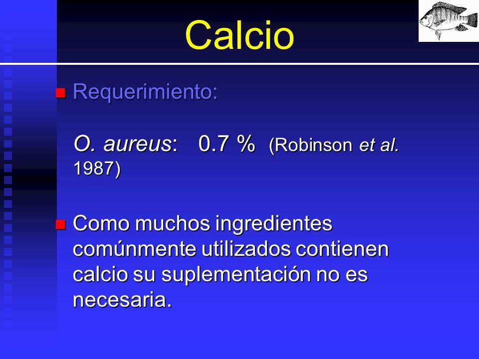Calcio Requerimiento: O. aureus:0.7 % (Robinson et al. 1987) Requerimiento: O. aureus:0.7 % (Robinson et al. 1987) Como muchos ingredientes comúnmente