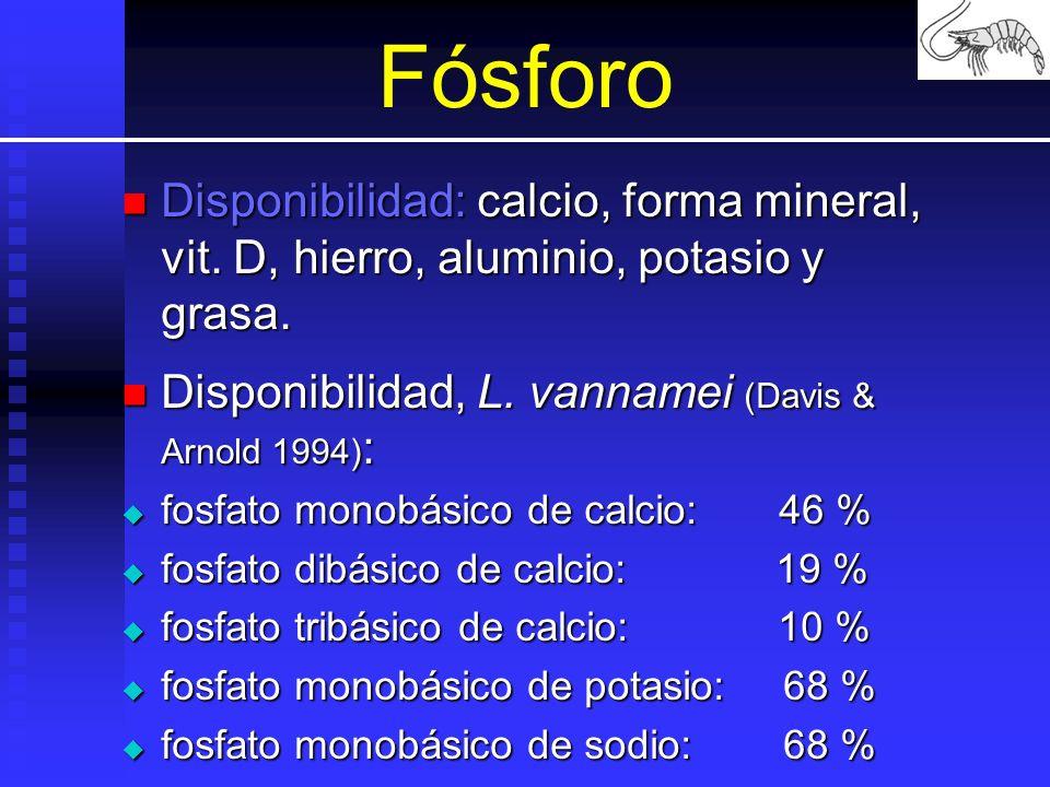 Fósforo Disponibilidad: calcio, forma mineral, vit. D, hierro, aluminio, potasio y grasa. Disponibilidad: calcio, forma mineral, vit. D, hierro, alumi