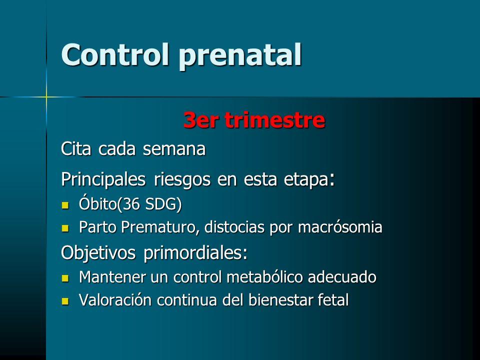 Control prenatal 3er trimestre Cita cada semana Principales riesgos en esta etapa : Óbito(36 SDG) Óbito(36 SDG) Parto Prematuro, distocias por macróso
