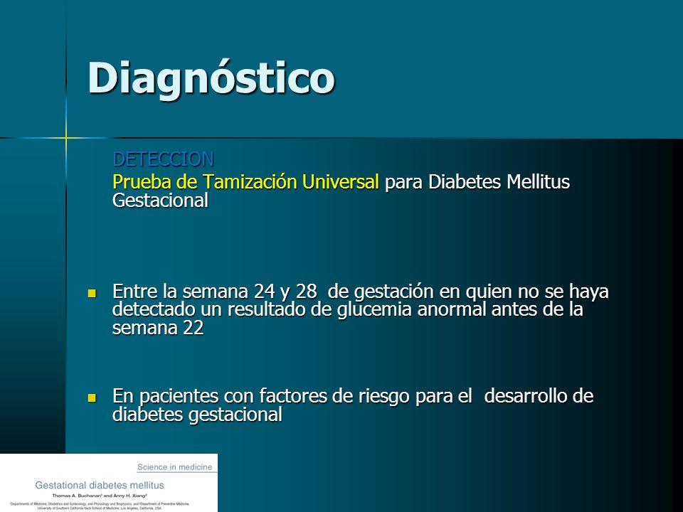 Diagnóstico DETECCION Prueba de Tamización Universal para Diabetes Mellitus Gestacional Entre la semana 24 y 28 de gestación en quien no se haya detec