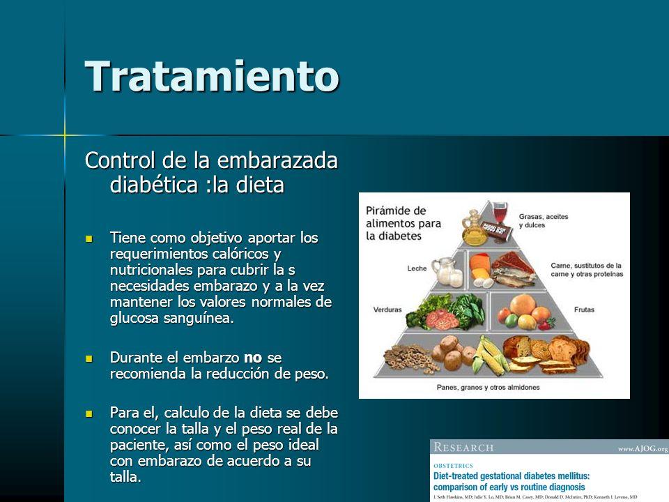 Tratamiento Control de la embarazada diabética :la dieta Tiene como objetivo aportar los requerimientos calóricos y nutricionales para cubrir la s nec