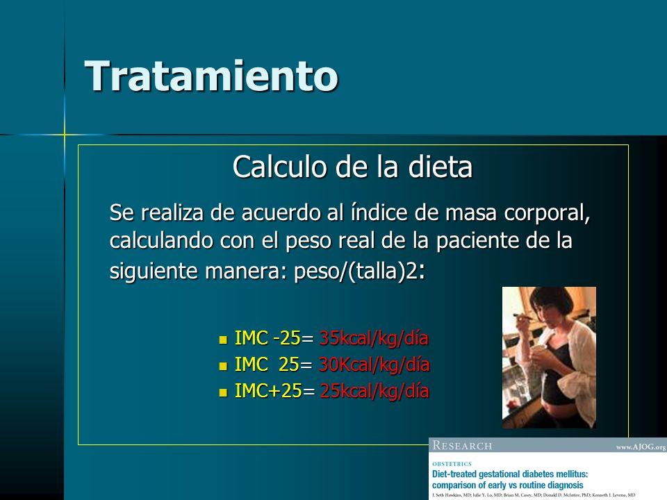Tratamiento Calculo de la dieta Se realiza de acuerdo al índice de masa corporal, calculando con el peso real de la paciente de la siguiente manera: p