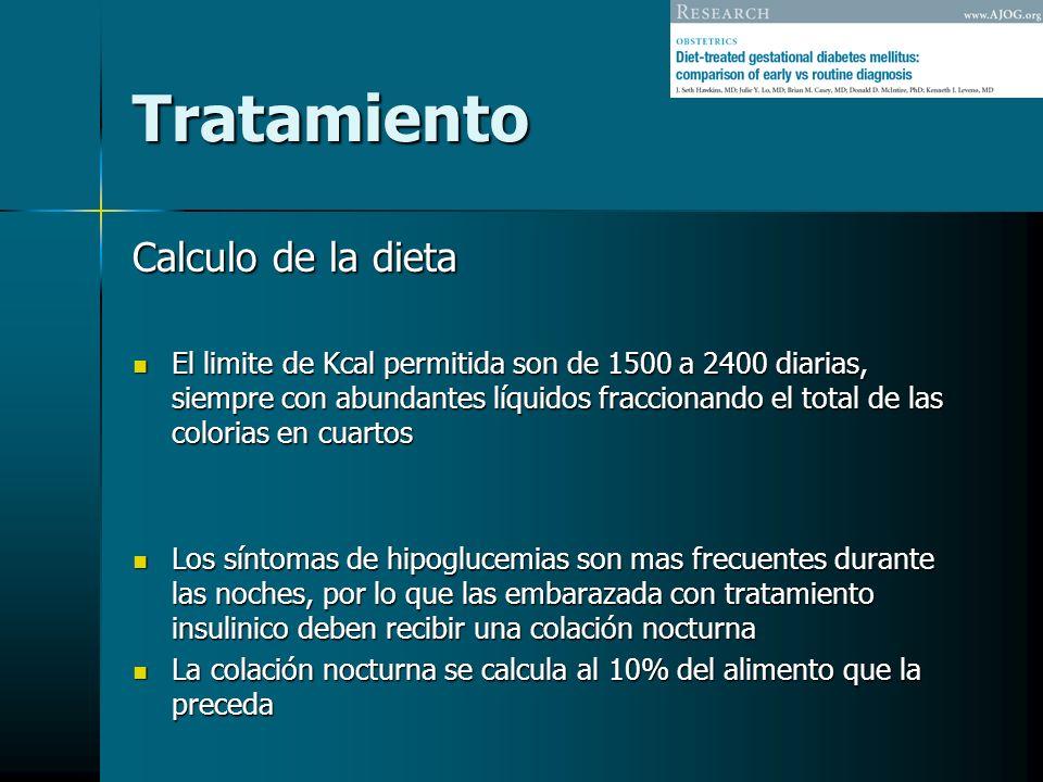 Tratamiento Calculo de la dieta El limite de Kcal permitida son de 1500 a 2400 diarias, siempre con abundantes líquidos fraccionando el total de las c