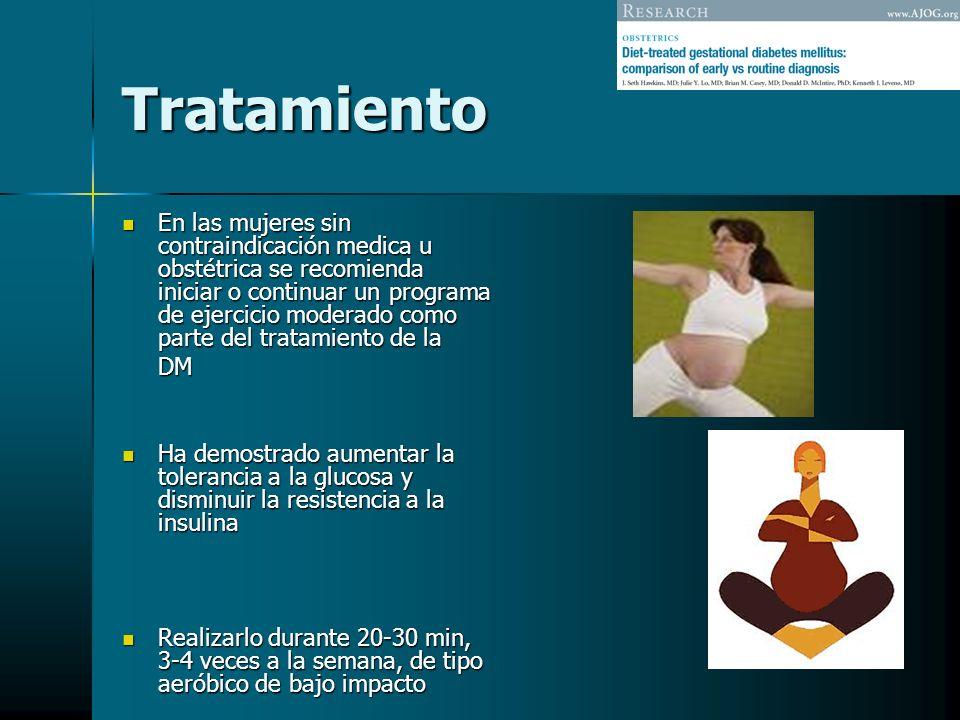 Tratamiento En las mujeres sin contraindicación medica u obstétrica se recomienda iniciar o continuar un programa de ejercicio moderado como parte del