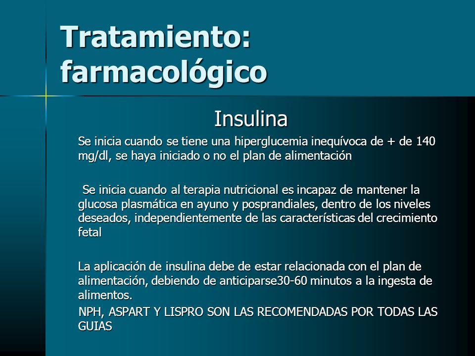 Tratamiento: farmacológico Insulina Se inicia cuando se tiene una hiperglucemia inequívoca de + de 140 mg/dl, se haya iniciado o no el plan de aliment