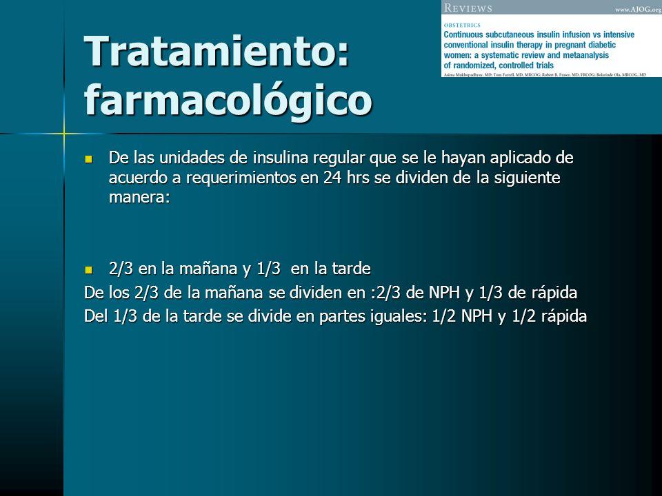 Tratamiento: farmacológico De las unidades de insulina regular que se le hayan aplicado de acuerdo a requerimientos en 24 hrs se dividen de la siguien