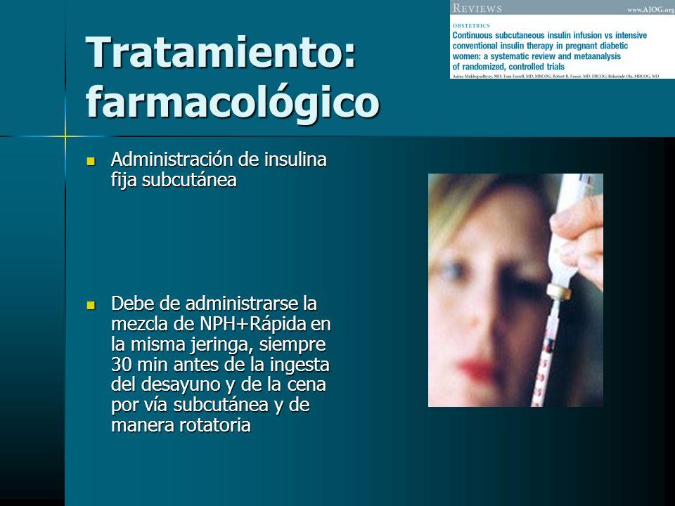 Tratamiento: farmacológico Administración de insulina fija subcutánea Administración de insulina fija subcutánea Debe de administrarse la mezcla de NP