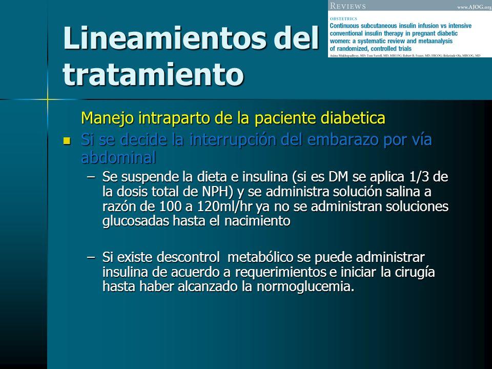 Lineamientos del tratamiento Manejo intraparto de la paciente diabetica Si se decide la interrupción del embarazo por vía abdominal Si se decide la in