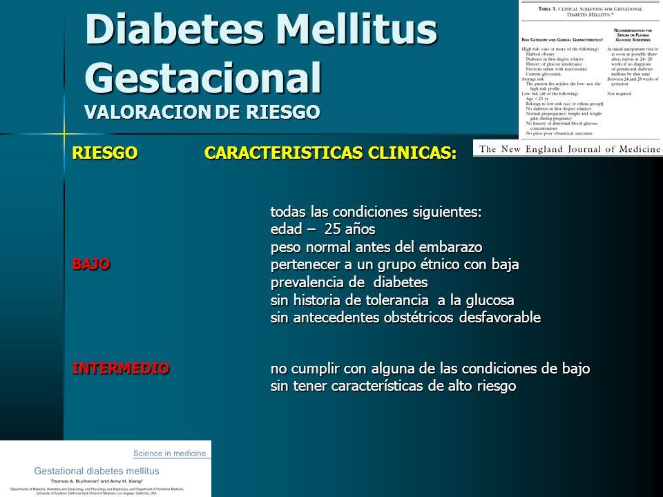 Diabetes Mellitus Gestacional VALORACION DE RIESGO RIESGO CARACTERISTICAS CLINICAS: todas las condiciones siguientes: todas las condiciones siguientes