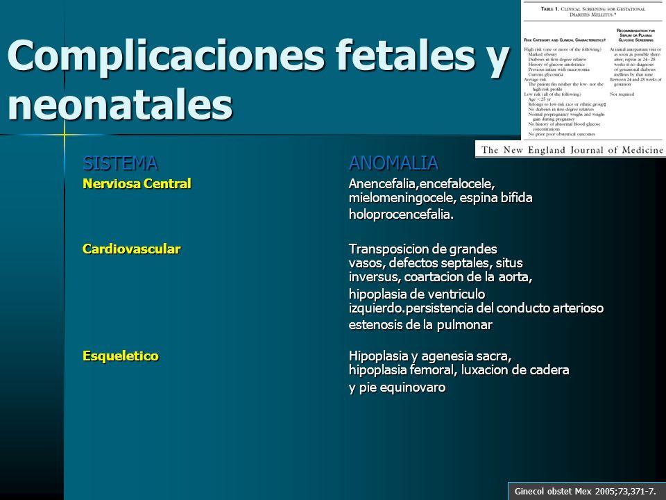 Complicaciones fetales y neonatales SISTEMAANOMALIA Nerviosa CentralAnencefalia,encefalocele, mielomeningocele, espina bifida holoprocencefalia. Cardi