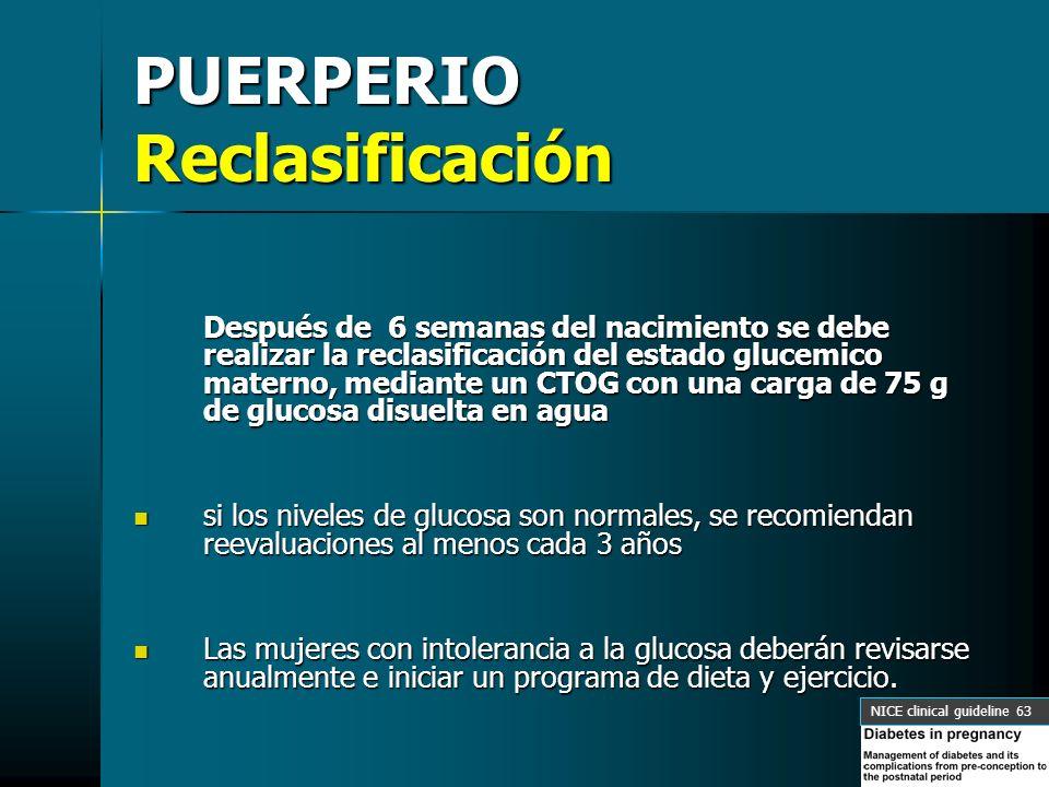 PUERPERIO Reclasificación Después de 6 semanas del nacimiento se debe realizar la reclasificación del estado glucemico materno, mediante un CTOG con u