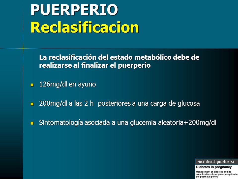 PUERPERIO Reclasificacion La reclasificación del estado metabólico debe de realizarse al finalizar el puerperio 126mg/dl en ayuno 126mg/dl en ayuno 20