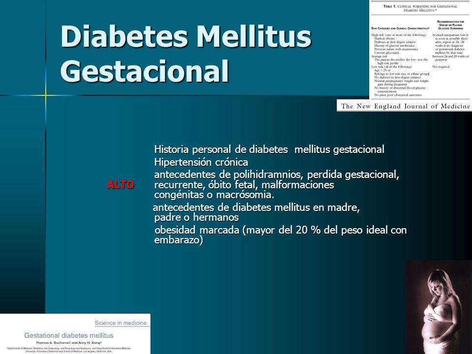 Clasificación modificada de White para diabetes en el embarazo CLASE EDAD DE INICIO DURACION ENFERMEDADREQUIERE (AÑOS) (AÑOS) VASCULAR DE INSULINA DIABETES GESTACIONAL A1CualquieraCualquiera0 0 A2CualquieraCualquiera 0 + DIABETES PREGESTACIONAL B+20-100 + C10 a 1910 a 190 + D-10+20Retinopatía benigna + o hipertensión o hipertensión FCualquieraCualquieraNefropatía + RCualquieraCualquieraRetinopatía proliferativa + proliferativa + TCualquieraCualquieraEmbarazo + posterior a trasplante renal HCualquieraCualquieracardiopatía isquémica + Ginecol obstet Mex 2005;73,371-7.