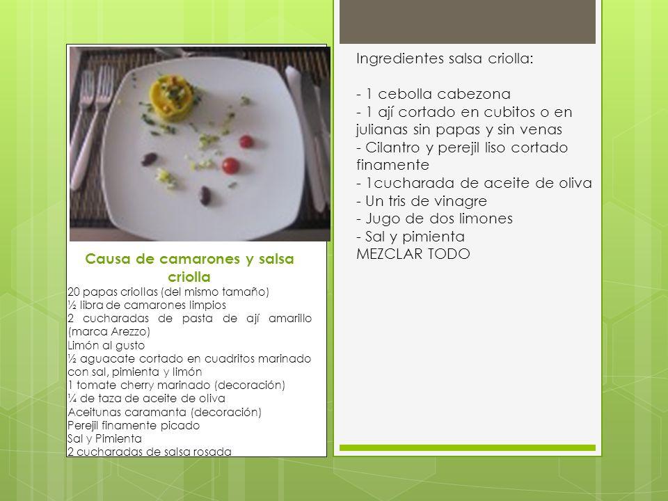 Ingredientes salsa criolla: - 1 cebolla cabezona - 1 ají cortado en cubitos o en julianas sin papas y sin venas - Cilantro y perejil liso cortado fina
