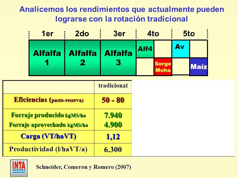 Analicemos los rendimientos que actualmente pueden lograrse con la rotaciòn tradicional Alfalfa 1 Alfalfa 2 Alfalfa 3 Alf4 1er 2do 3er 4to 5to Sorgo M