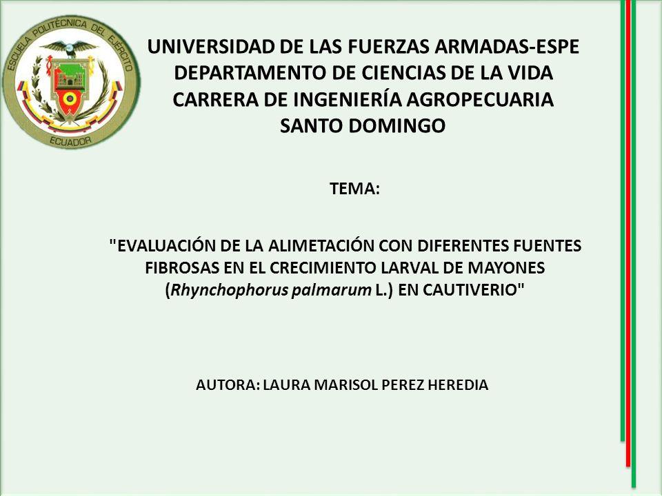 UNIVERSIDAD DE LAS FUERZAS ARMADAS-ESPE DEPARTAMENTO DE CIENCIAS DE LA VIDA CARRERA DE INGENIERÍA AGROPECUARIA SANTO DOMINGO TEMA: