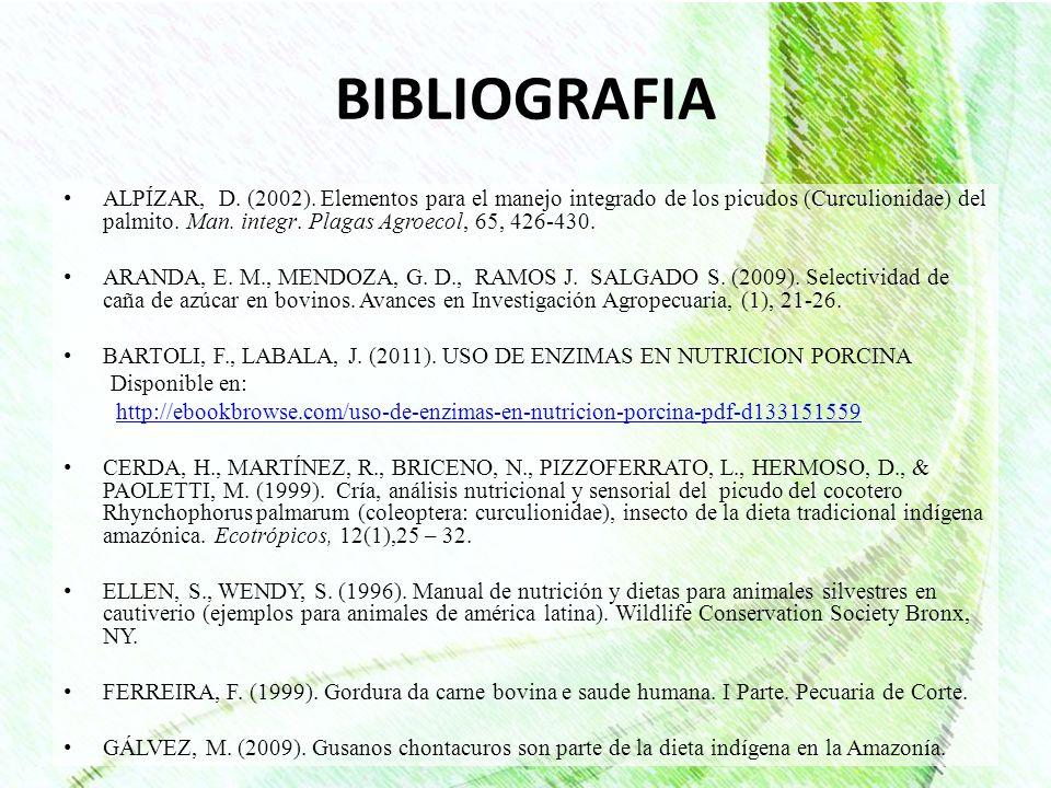BIBLIOGRAFIA ALPÍZAR, D. (2002). Elementos para el manejo integrado de los picudos (Curculionidae) del palmito. Man. integr. Plagas Agroecol, 65, 426-