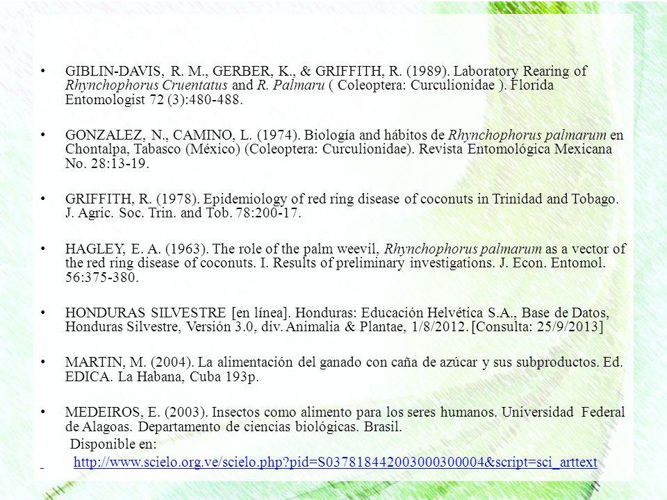 GIBLIN-DAVIS, R. M., GERBER, K., & GRIFFITH, R. (1989). Laboratory Rearing of Rhynchophorus Cruentatus and R. Palmaru ( Coleoptera: Curculionidae ). F
