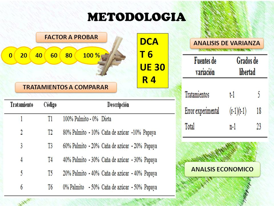 METODOLOGIA 020406080100 % FACTOR A PROBAR TRATAMIENTOS A COMPARAR DCA T 6 UE 30 R 4 ANALISIS DE VARIANZA ANALSIS ECONOMICO