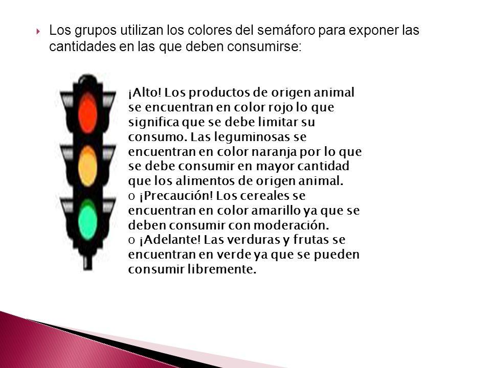 Los grupos utilizan los colores del semáforo para exponer las cantidades en las que deben consumirse: ¡Alto! Los productos de origen animal se encuent