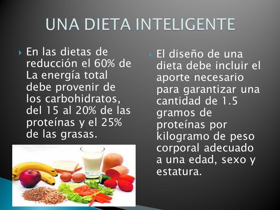 En las dietas de reducción el 60% de La energía total debe provenir de los carbohidratos, del 15 al 20% de las proteínas y el 25% de las grasas. El di